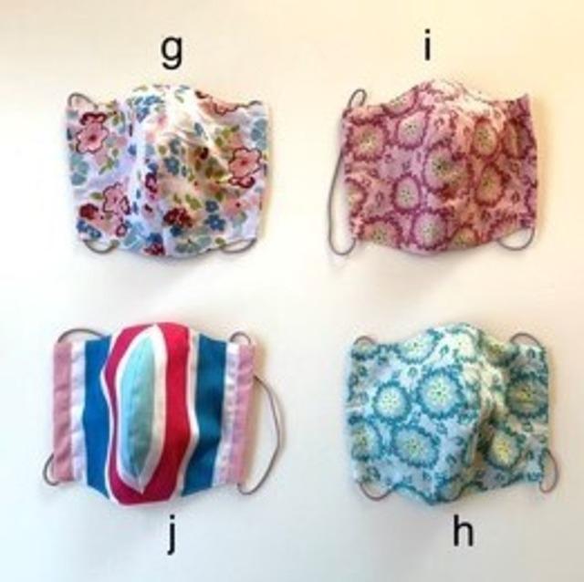 北欧デザイン 洗える布マスク 小さめサイズ(立体型・裏ダブルガーゼ)  | パターンg-j