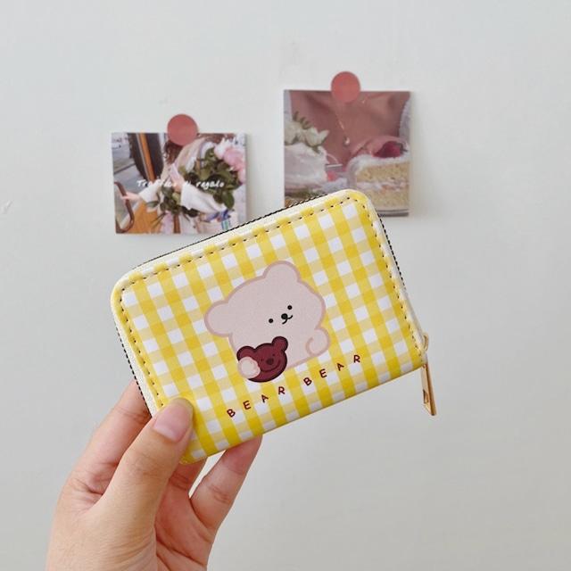 財布 折財布 カードケース 韓国 キュートベアーカード入れ カード 大容量 小銭入れ 使いやすい 小さめ シンプル かわいい おしゃれ コンパクト 柔らかい 合成皮革