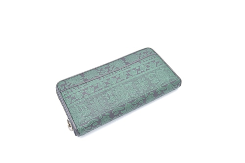 ラウンド長財布 黒/緑 印度更紗柄