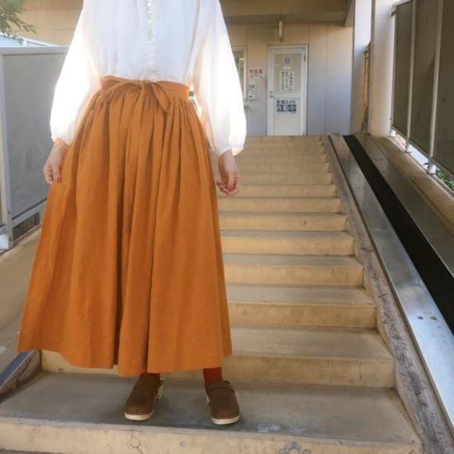 ICHI(イチ) リネンコットンラップスカート キャメル
