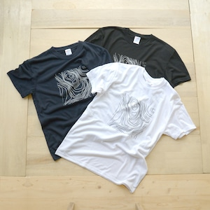 ホトリ山Tシャツ(化繊)/等高線柄 シルクスクリーン【mt.souvenir】