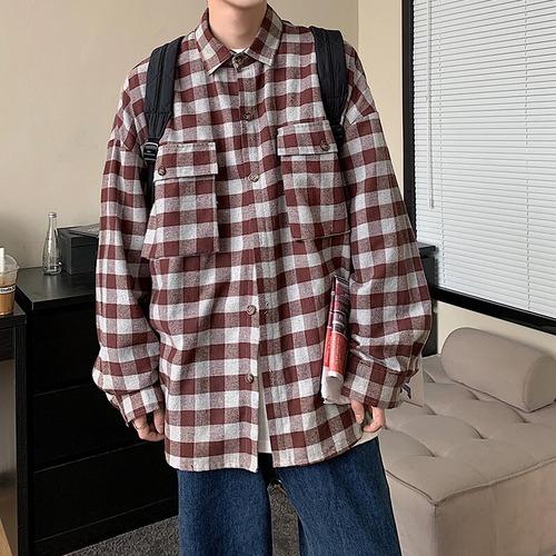 フラップポケットチェックシャツ BL9386