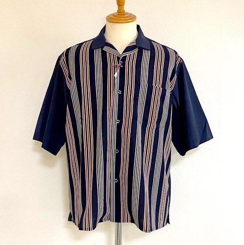 Switch Print Open Collar Shirts Navy × Stripe