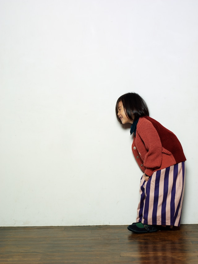 folk made stripe long pants(gray x brown) M・Lサイズ folk made