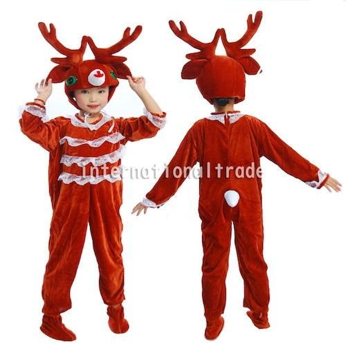 予約 コスプレ服 トナカイ衣装 コスチューム クリスマス キッズサイズ こども 子供 ベビー 鹿 シカ 着ぐるみ 動物 どうぶつ イベント パーティー 仮装 男の子 女の子 可愛い かわいい 90cm 100cm 110cm 120cm 130cm 140cm 150cm kids02