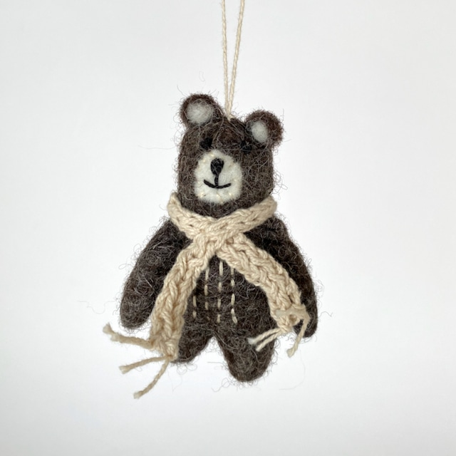 Bear Brown w/Beige scarf|ベージュのマフラーのクマ オーナメント