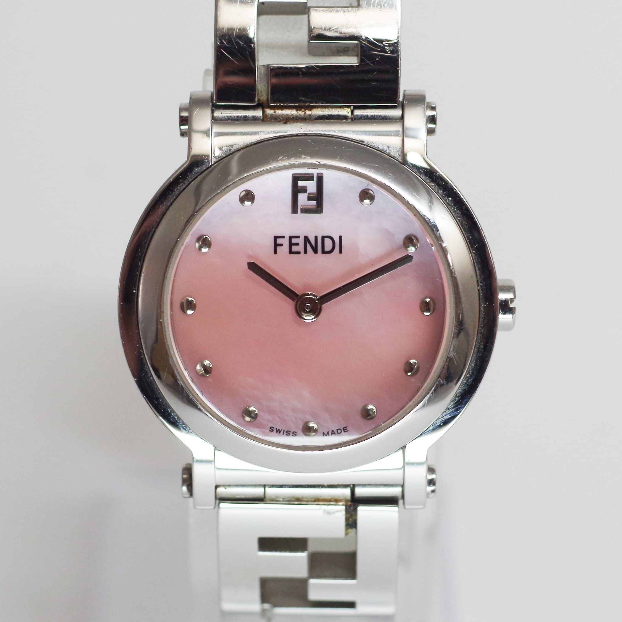 FENDI フェンディ 6100L SS クォーツ ピンクシェル 腕時計 レディース