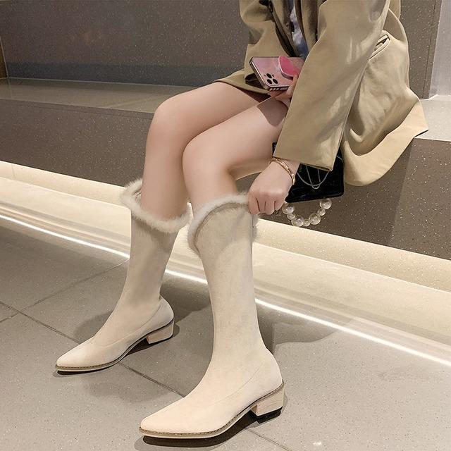 【シューズ】ファッションポインテッドトゥミドルヒールロング丈ブーツ53367117