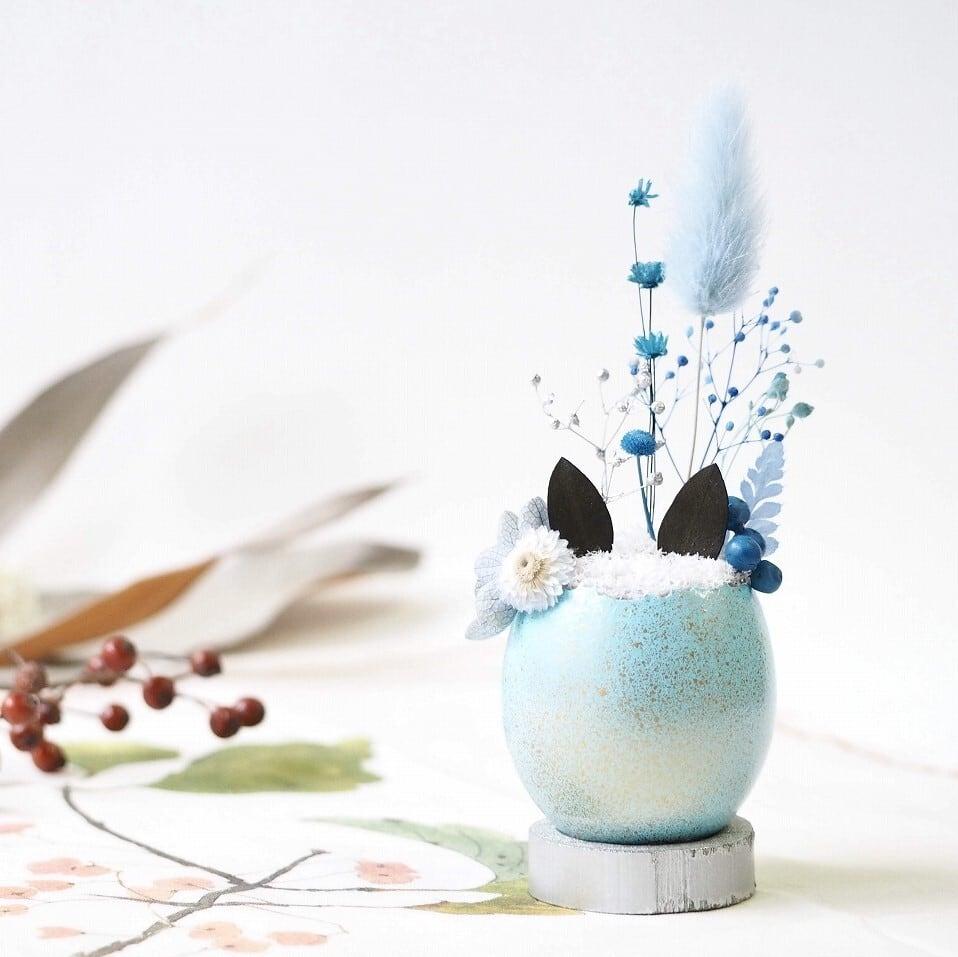 猫型盆栽「タマゴノコネコ」(初夏の晴れやかブルー)