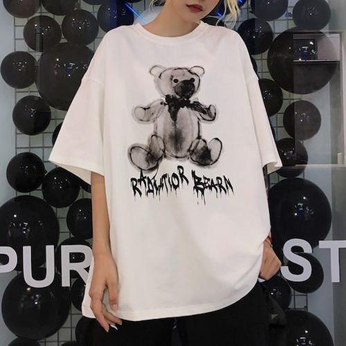 【★送料無料★】 可愛いクマプリント Tシャツ 半袖 韓国ファッション レディース ラウンドネック ゆったり ホワイト インスタ映え DTC-597009893311