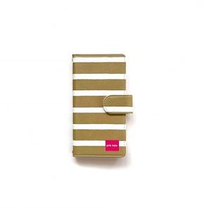 北欧デザイン iPhone手帳型ケース    maroon stripe