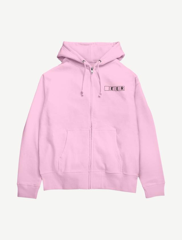 【□EER】ジップパーカー(ライトピンク)