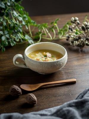 たて鉄線 手付丸型スープカップ(信楽焼・スープカップ・スープボウル)/古谷 浩一