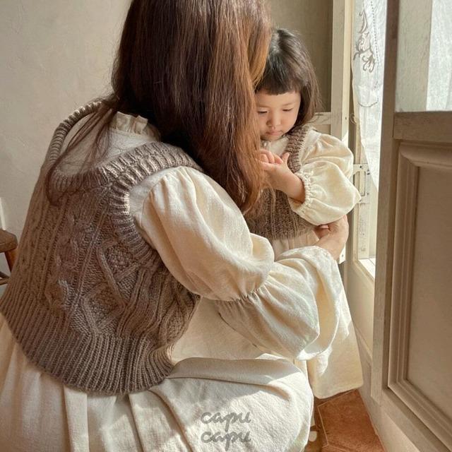 «先行予約割引»«ママサイズ» monbebe knit vest ニットベスト