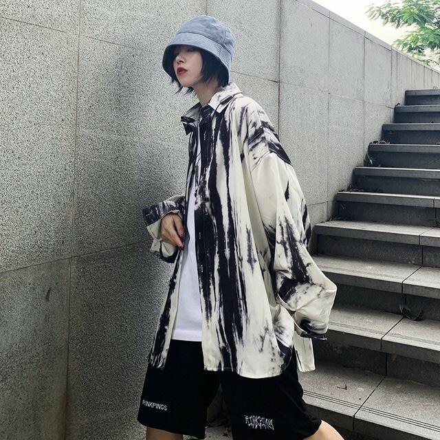 【トップス】ストリート系長袖POLOネックシングルブレストシャツ42916487