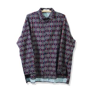 総柄プリントシャツ   幾何学柄 レトロ きれいめ ボックスカット