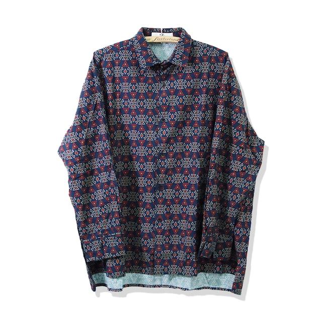 総柄プリントシャツ | 幾何学柄 レトロ きれいめ ボックスカット