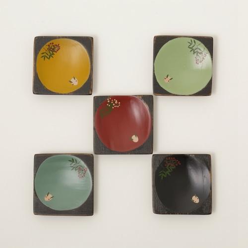 香川漆器 角こまめ皿 「雪うさぎに南天」 5枚セット 中田漆木