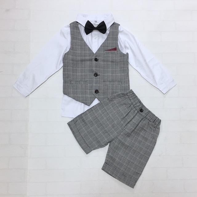 【送料無料】ホワイトシャツ×グレンチェックフォーマルベスト4点セット【173】