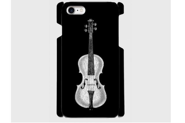 (iPhone用)バイオリンのスマホケース(黒)