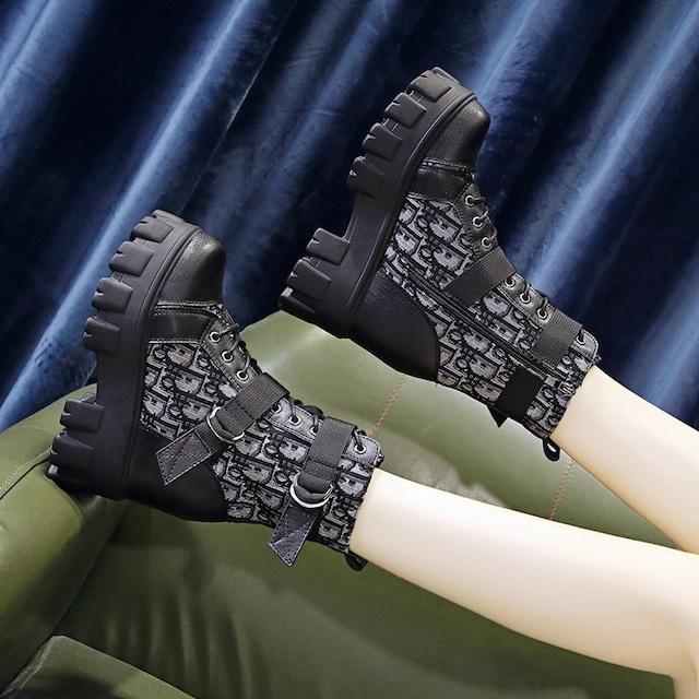 【シューズ】ファッション丸トゥ人気合わせやすい無地厚底ブーツ34377934
