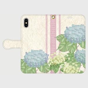 博多献上×紫陽花 iPhone専用・手帳型(帯あり)