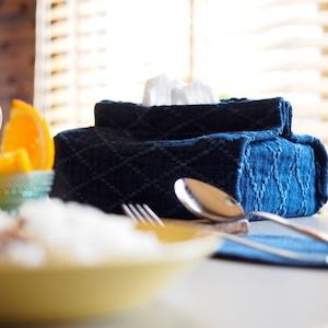 うしじま縫製 | 武州正藍染 ティッシュケース 二重刺子