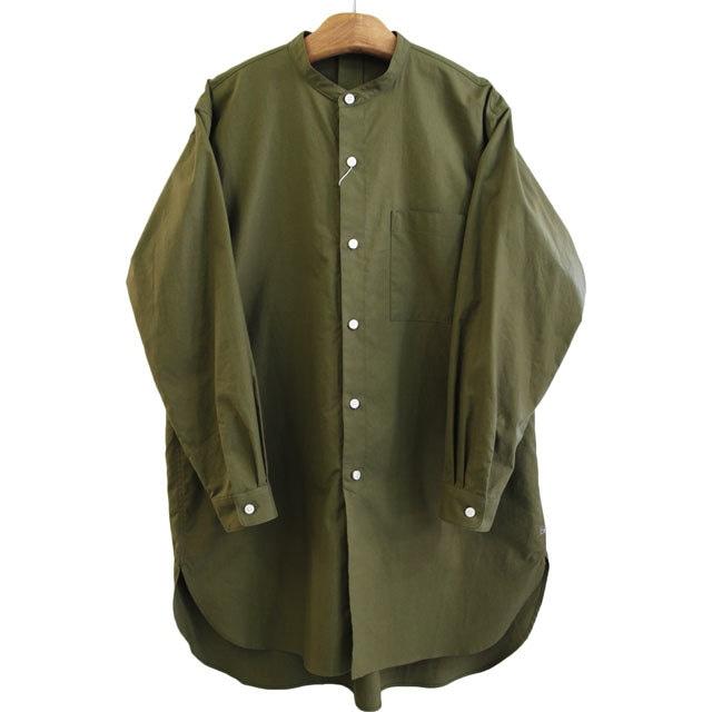 HUIS ハウス 遠州織物 ユニセックス バンドカラ―ロングシャツ 007GR