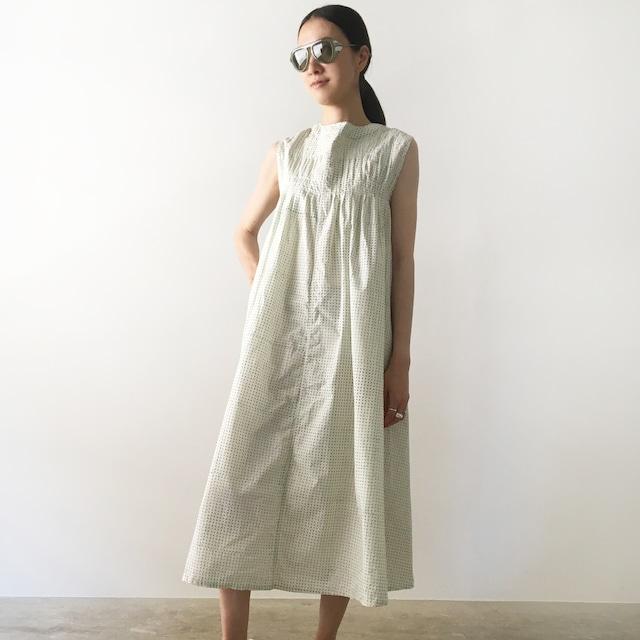 "Gather dress ""Block print geometric"" organic cotton"