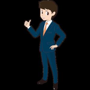 サムアップする若い男性ビジネスマン