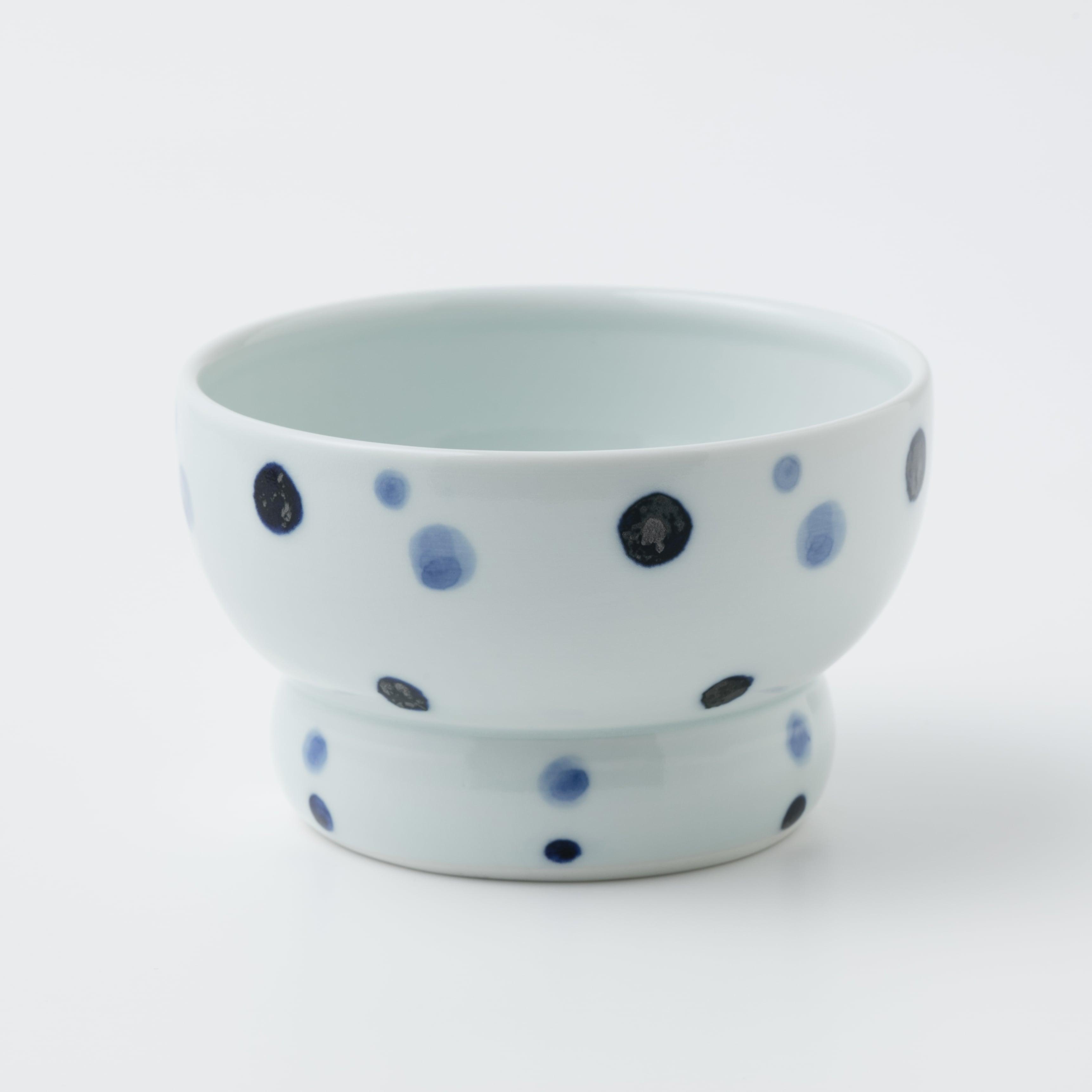 有田焼【まどか】 ロータイプ(水用) 青い水玉 製造:江口製陶所