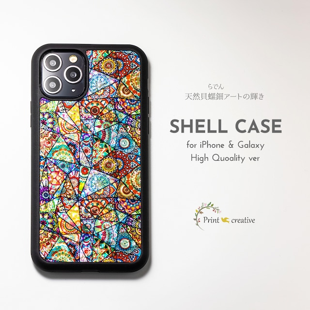 【iPhone13対応】天然貝シェル★ハーモニー(iPhone/Galaxyハイクオリティケース)|螺鈿アート