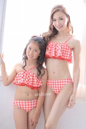 【キッズ:女の子】親子コーデ水着ギンガムチェック×レース(レッド)