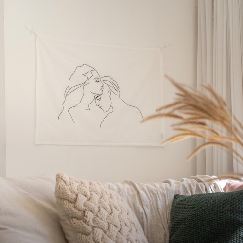 【特価】man and woman fabric poster / ファブリックポスター ドローイング 布製 刺繍 韓国 北欧 雑貨