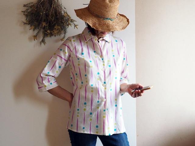 着心地が良いのにきちんと感もある夏のシャツブラウス  ビタミンカラーにポップな柄が可愛い!-涼しい綿の浴衣から一点もの