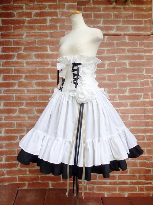フリルコルセットスカート薔薇リボンコサージュ付き 白