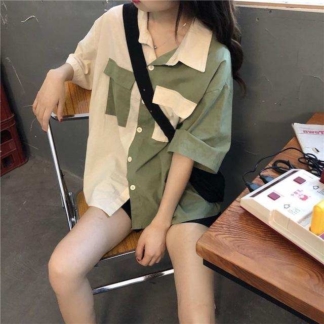 カラーブロッキング半袖シャツ 【210336】 大きいサイズあり