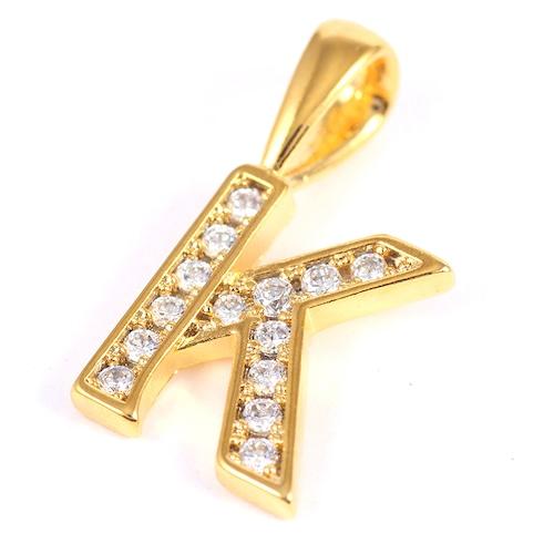 K18GP 【K】ダイヤモンドアルファベット パヴェ チャーム