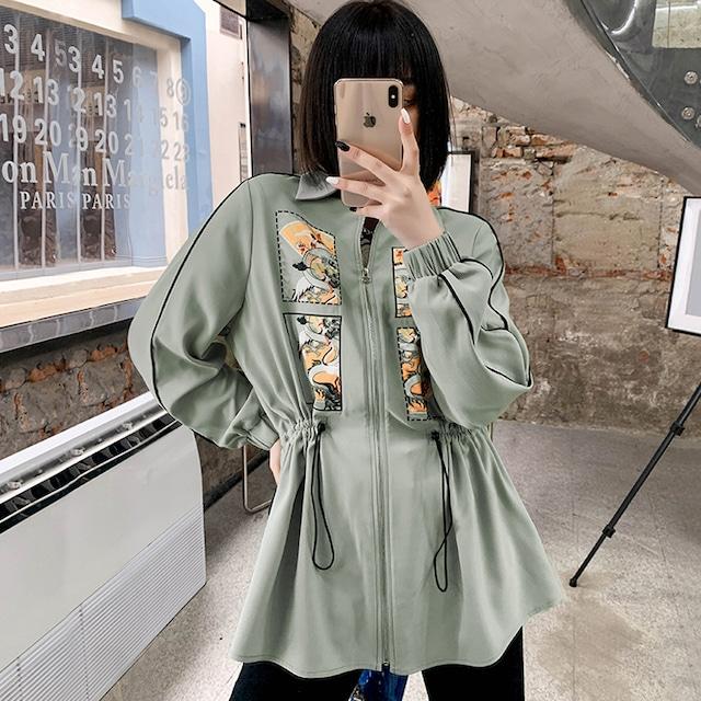 【JKJSシリーズ】★チャイナ風シャツ★ アウター ファスナー付き グリーン 緑 着痩せ S M L XL 個性的