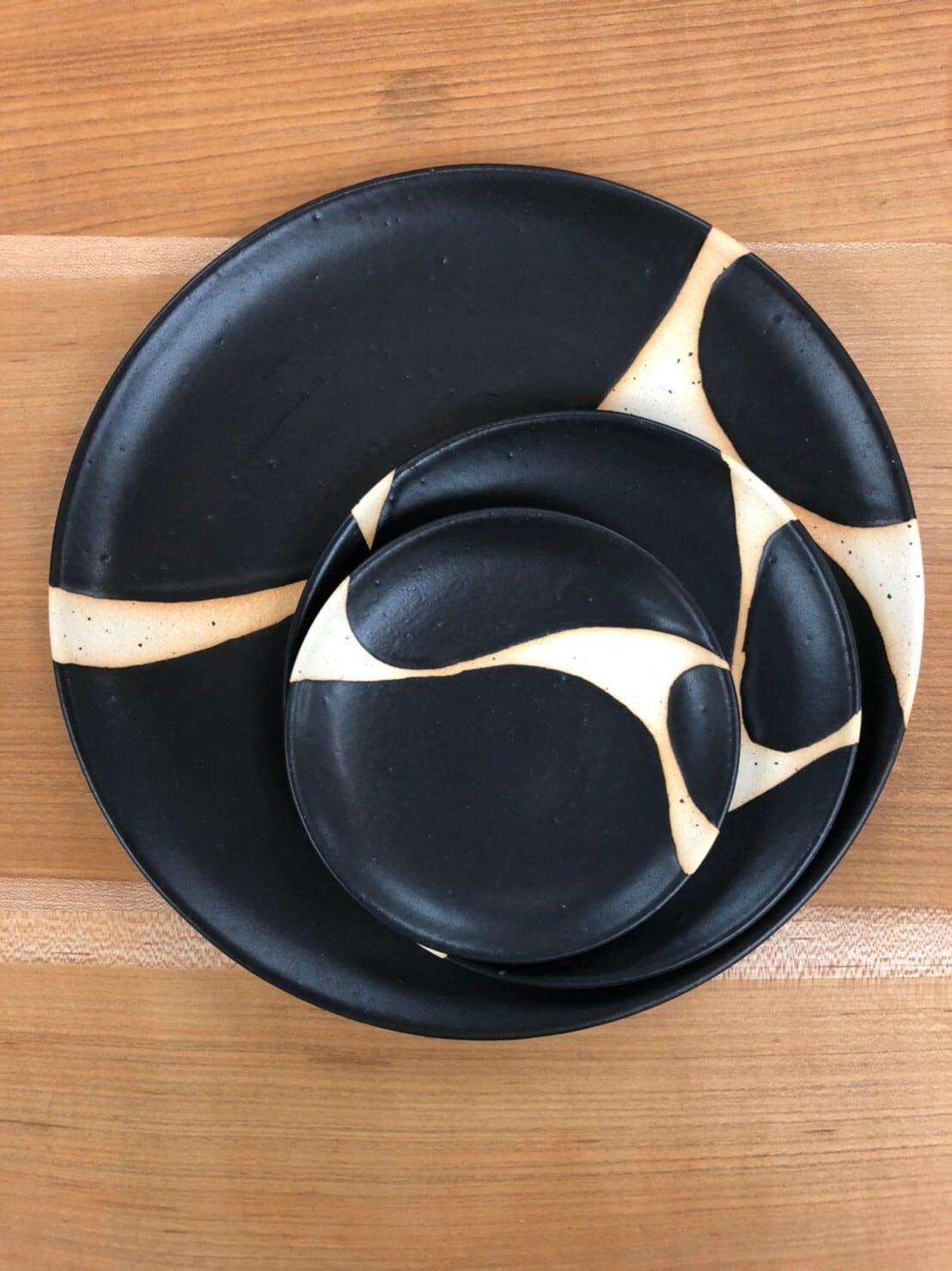 【陶factory509】モノクロ皿 16cm