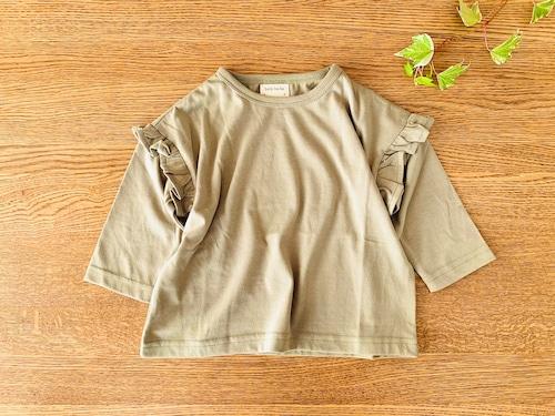 肩フリルの長袖シャツ・カーキ 85cm~90cm