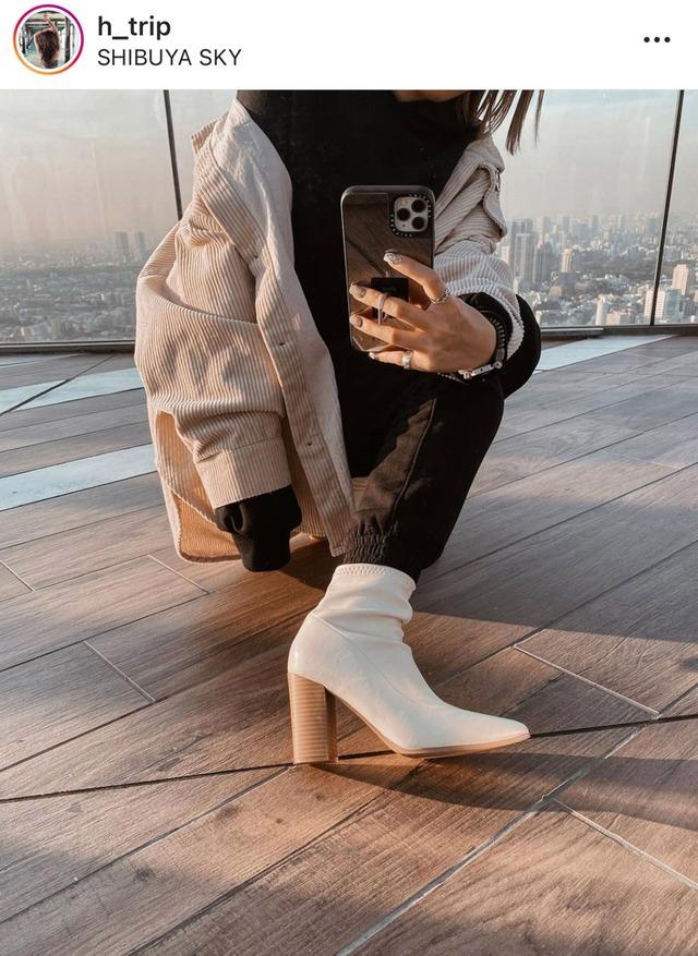 <ホワイト6cm 22.5cm1点即納>【羊革】異素材デザインヒールショートブーツ 2色&2種展開