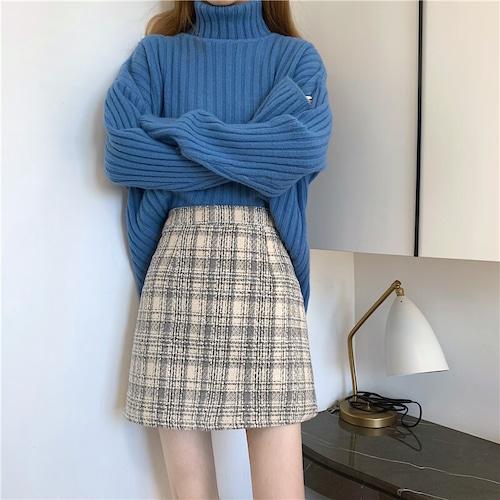 チェックAラインスカート #RD7468