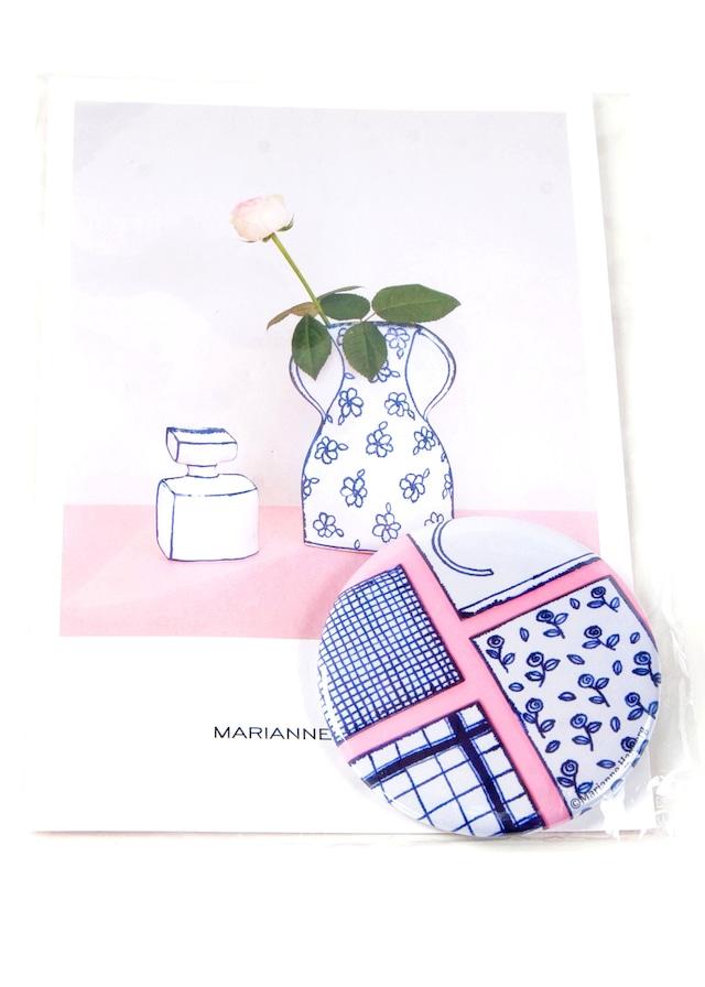 【アウトレット / 残りわずか】Marianne Hallberg(マリアンヌハルバーグ)缶バッジL / ミニ陶板 MH037