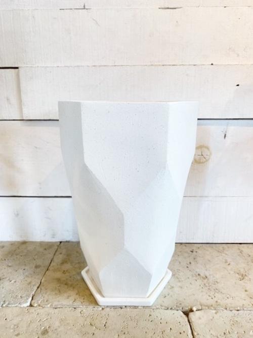 ホワイト陶器鉢 Φ23cm×H39cm