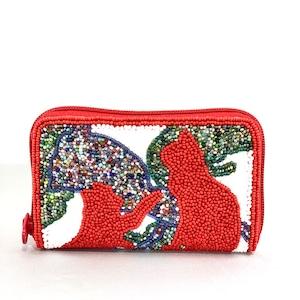 ラウンド小財布099赤猫mix柄ビーズ刺繍