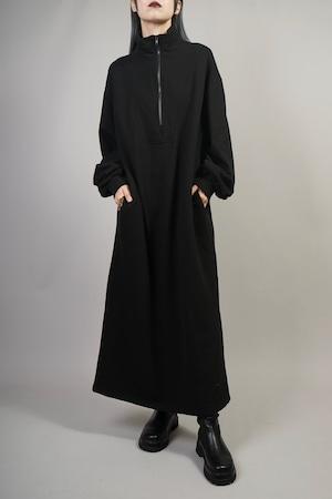 HARF ZIP SWEAT DRESS (BLACK) 2110-42-14