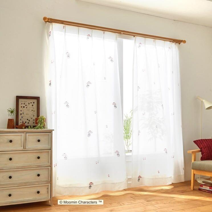 【最短8営業日で出荷】ボイルレースカーテン ムーミン 「UMBRELLA アンブレラ ホワイト」 (幅×丈):100×176cm(2枚組) ab-a1014