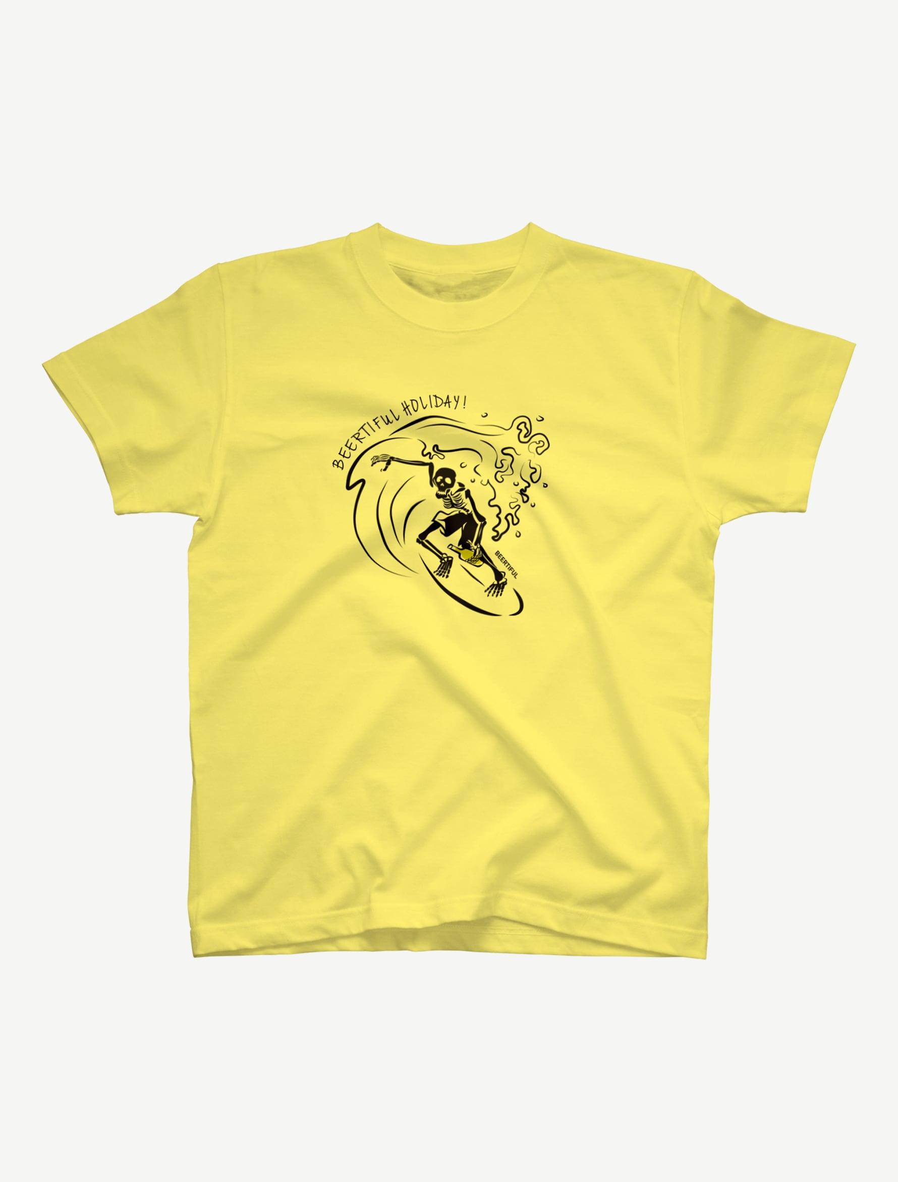 【サーフィンガイコツ】Tシャツ(ライトイエロー)