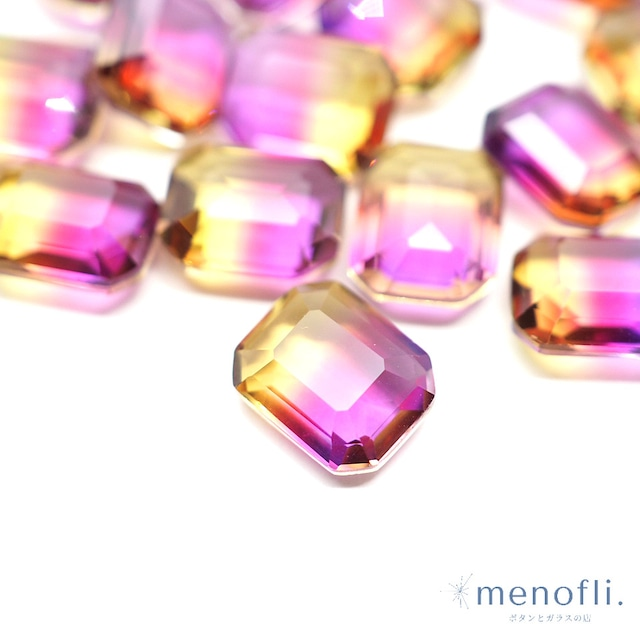 1pc 長方形 グラデーション 紫・イエロー 10*8 チャイナガラス ラインストーン グラスストーン